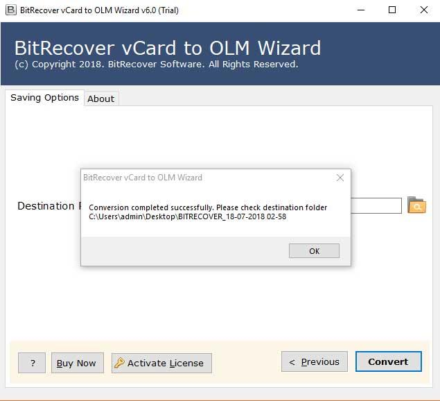 BitRecover vCard to OLM Wizard