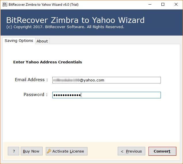 BitRecover Zimbra to Yahoo Wizard