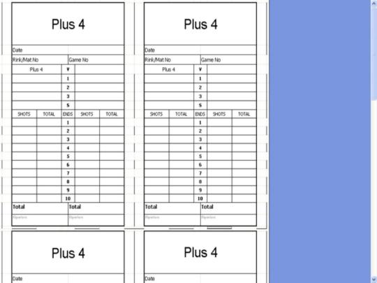 Bowls Score Cards