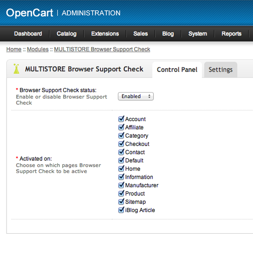 BrowserSupportCheck for OpenCart