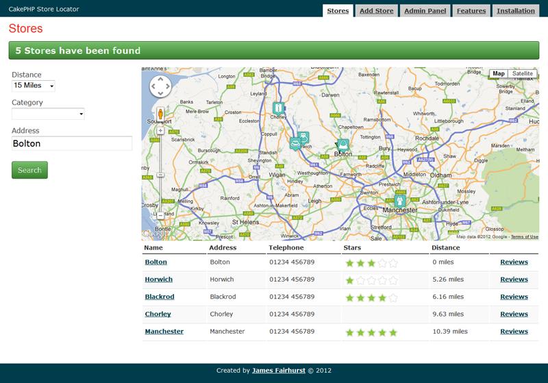 CakePHP Store Locator