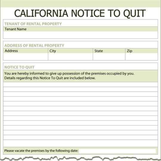 California Notice To Quit