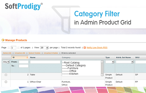 Category Filter in Admin Product Grid of Magento