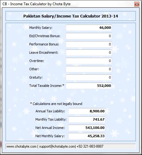 CB Income Tax Calculator 2013-14