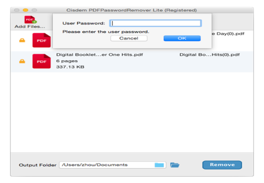 Cisdem PDFPasswordRemover Lite