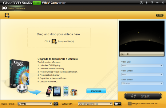 CloneDVD Studio Free WMV Converter