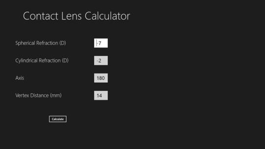 Contact Lens Calculator for WIndows 8
