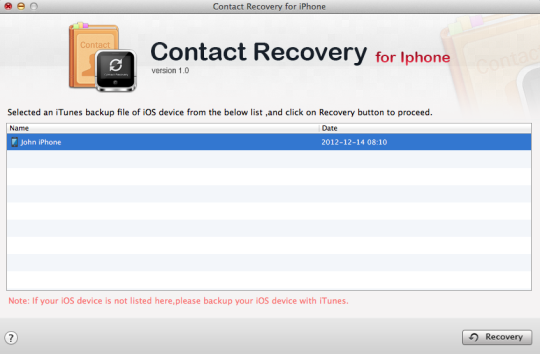 Contact Recovery for iPhone