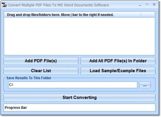 Convert Multiple PDF Files To MS Word Documents Software