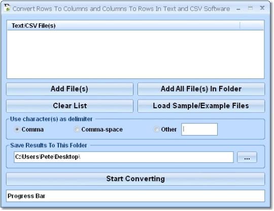 Convert Rows To Columns and Columns To Rows In Text and CSV Software