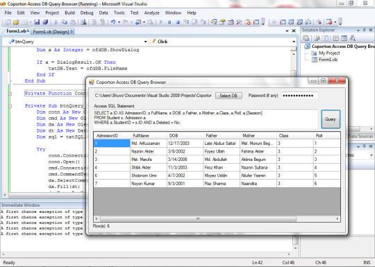 Coporton Access DB Query Browser