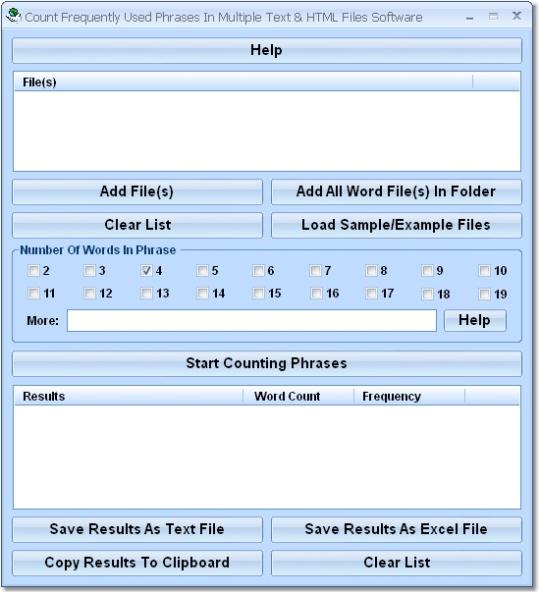 Count Frequently Used Phrases In Multiple Text & HTML Files Software