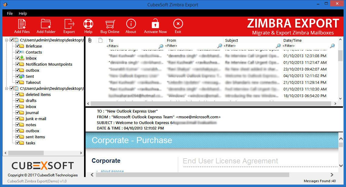 CubexSoft Zimbra Export