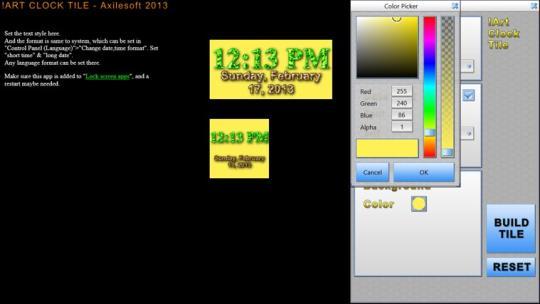 Custom Clock Tile for Windows 8