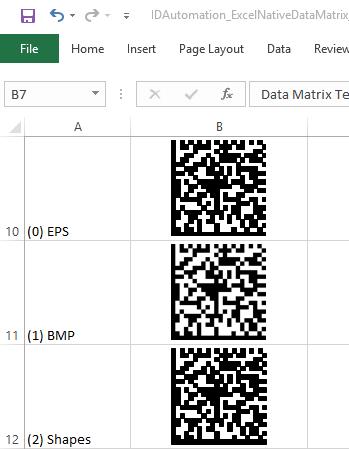 Data Matrix Native Microsoft Excel Barcode Generator