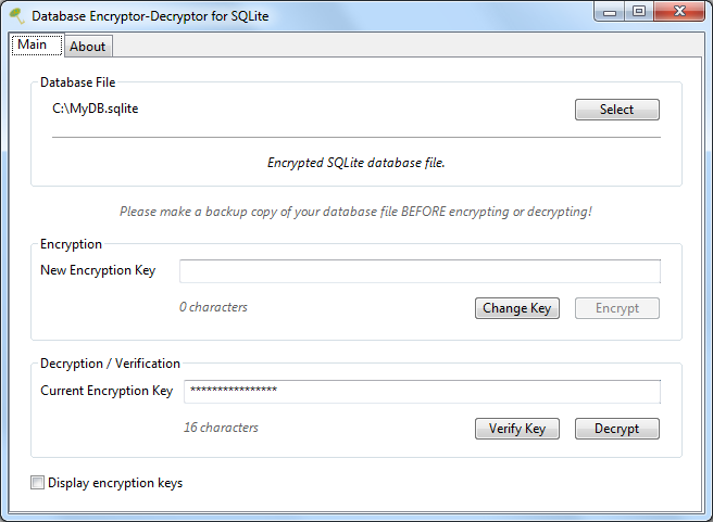 Database Encryptor-Decryptor for SQLite
