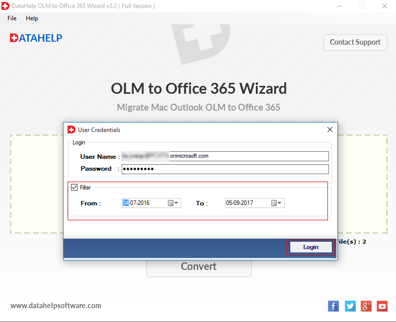 DataHelp OLM to Office365 Wizard