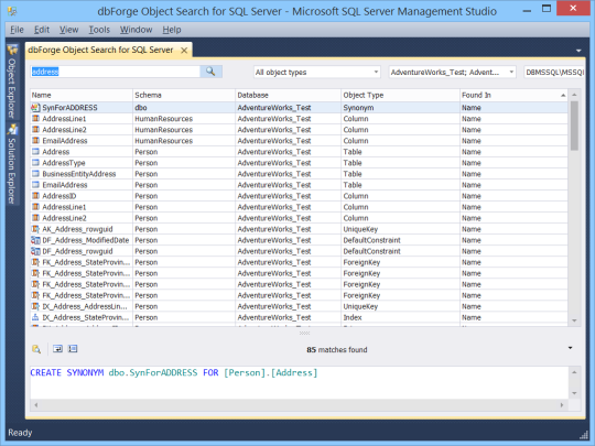 dbForge Object Search for SQL Server