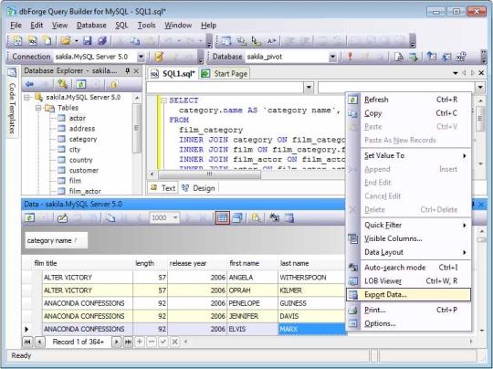 dbForge Query Builder for MySQL