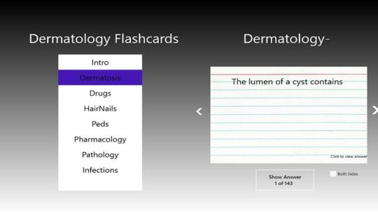 Dermatology Flashcards Pro for Windows 8
