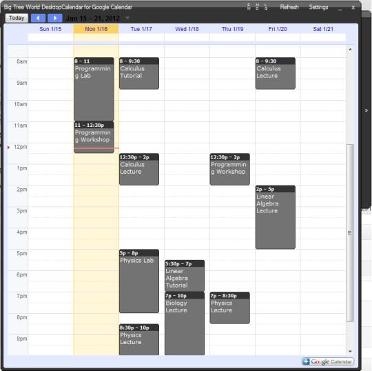 DesktopCalendar for Google Calendar