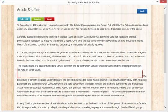 Dr Assignment Article Shuffler