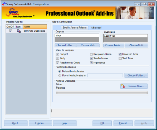 Duplicate Email Eliminator Across Folders for Outlook 2003/Outlook 2002/Outlook 2000