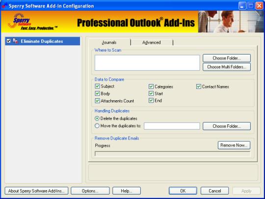 Duplicate Journals Eliminator for Outlook 2003/Outlook 2002/Outlook 2000