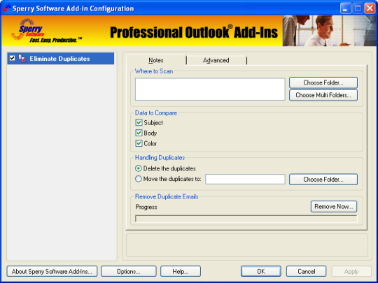 Duplicate Notes Eliminator for Outlook 2003/Outlook 2002/Outlook 2000