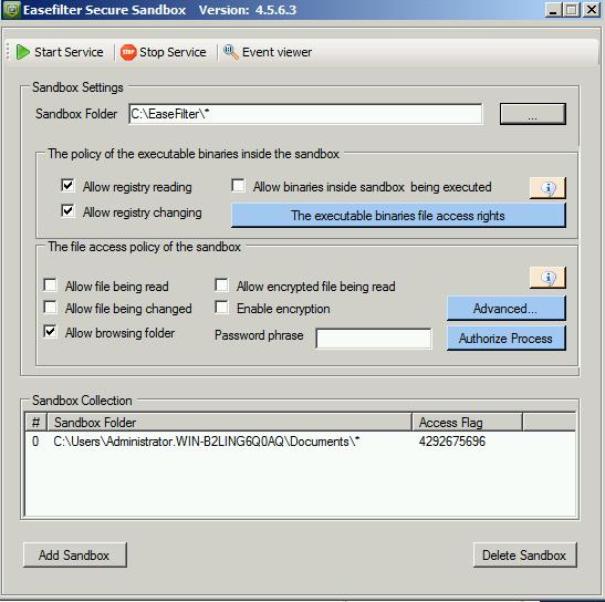 EaseFilter Secure Sandbox