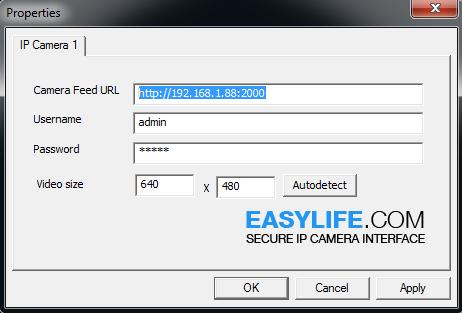 Easylife IP Camera Interface