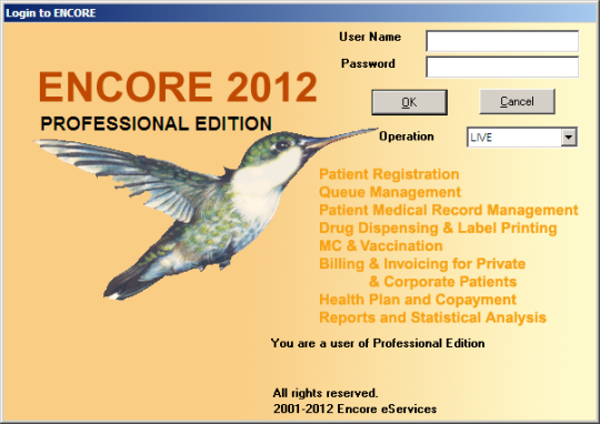 Encore Clinic Software Professional Edition