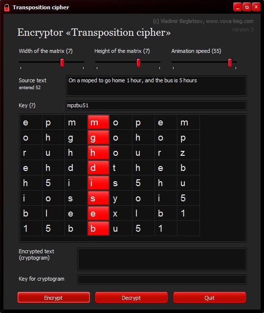 Encryptor Transposition Cipher