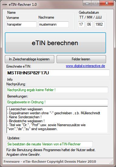 eTin Rechner
