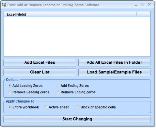 Excel Add or Remove Leading or Trailing Zeros Software