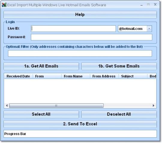 Excel Import Multiple Outlook.com Hotmail Emails Software