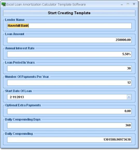 Excel Loan Amortization Calculator Template Software