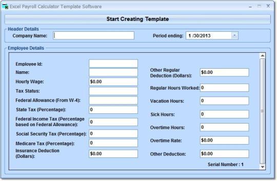 Excel Payroll Calculator Template Software