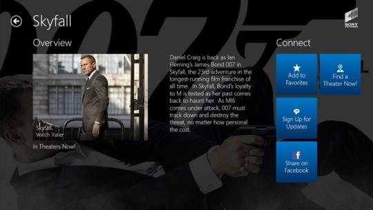 Experience Sony Pictures for Windows 8