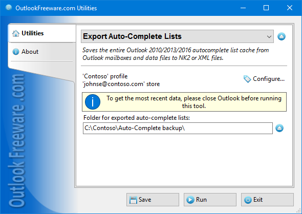 Export Auto-Complete Lists for Outlook