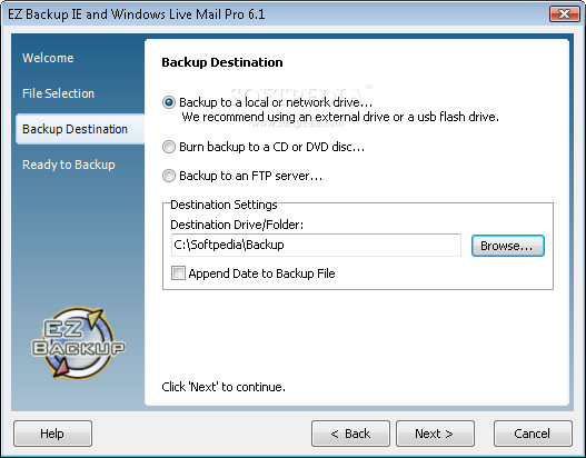 EZ Backup IE and Windows Live Mail Pro