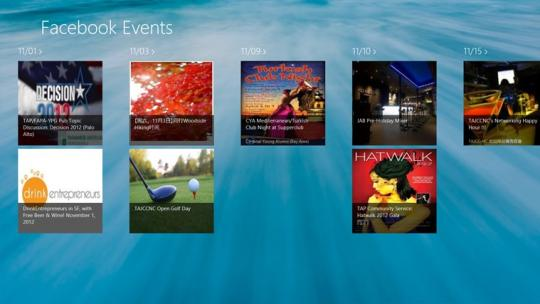 Facebook Events for Windows 8