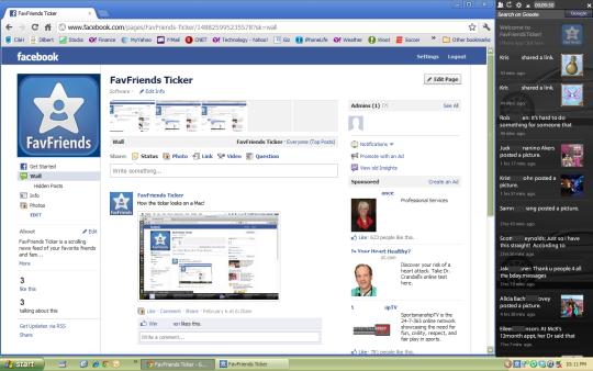 Facebook FavFriends Ticker