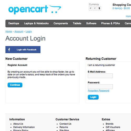 FacebookLogin for OpenCart