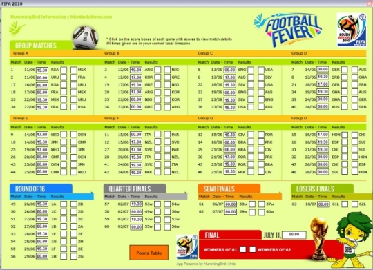 FIFA 2010 World Cup Stats Tracking Desktop Application
