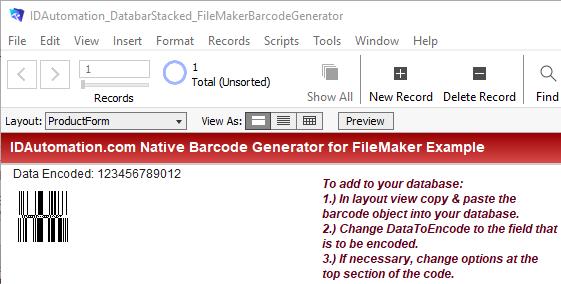 FileMaker Pro GS1 DataBar Generator