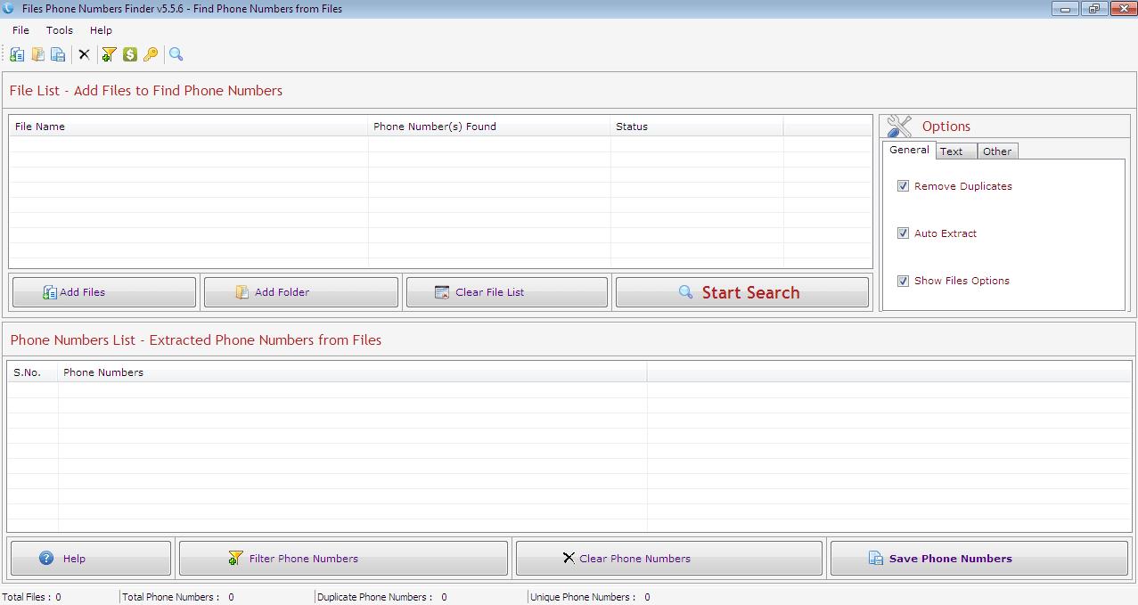 Files Phone Numbers Finder