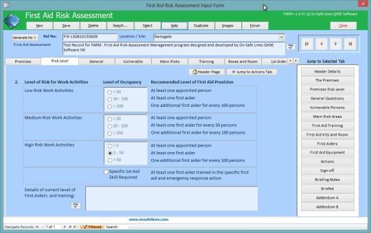 First Aid Risk Assessment Management