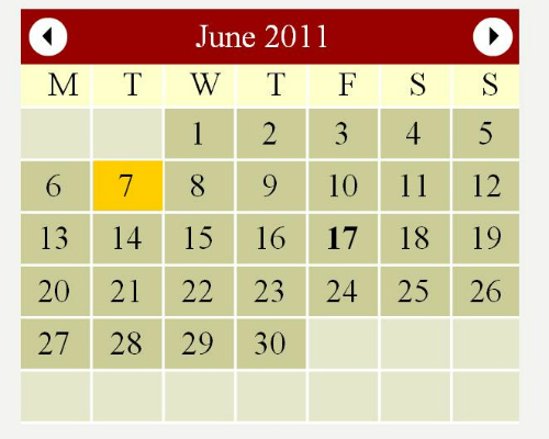 Flash Web Calendar