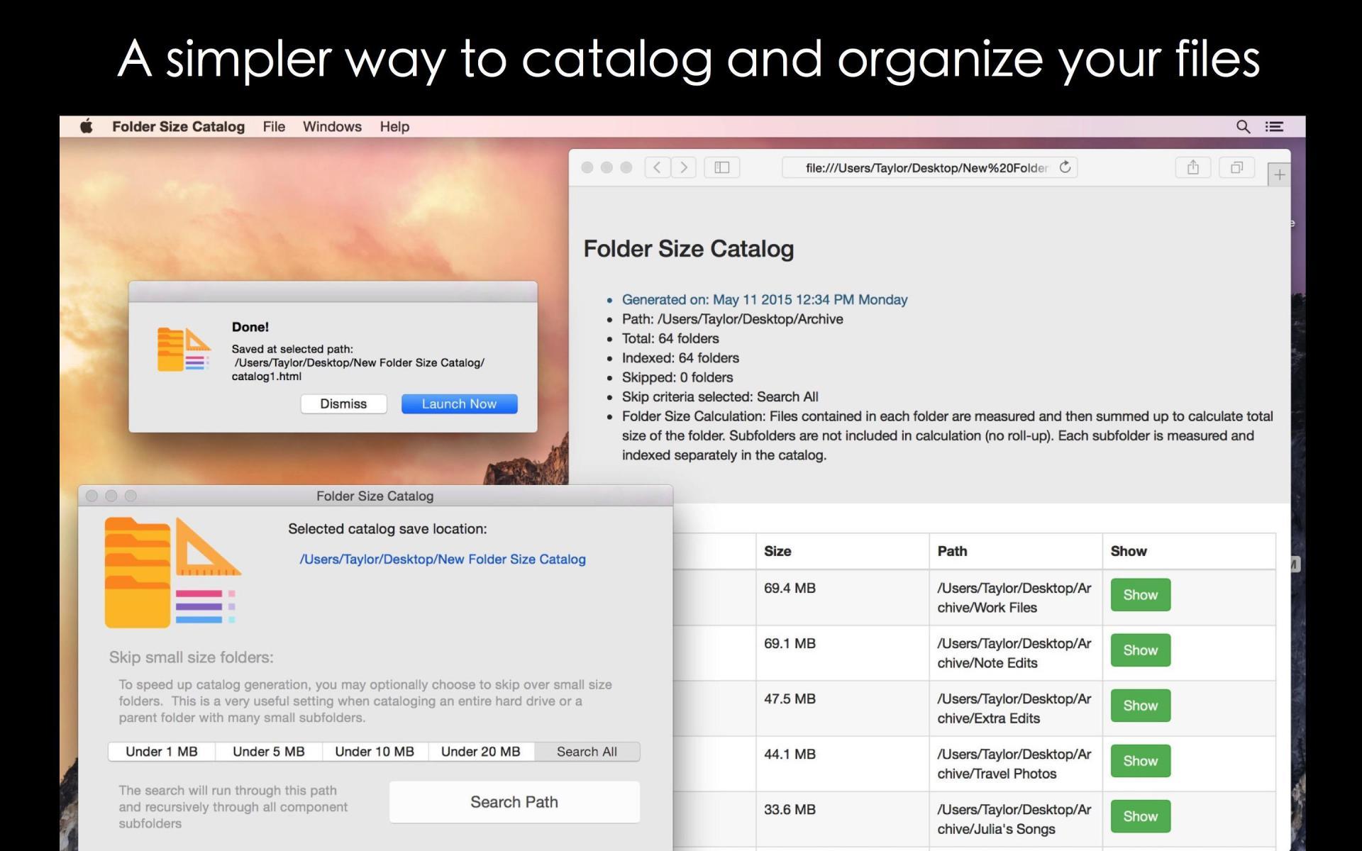 Folder Size Catalog